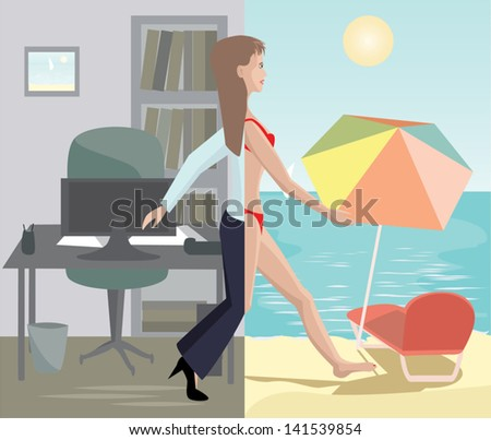 girl stepping from office to sea beach - stock vector