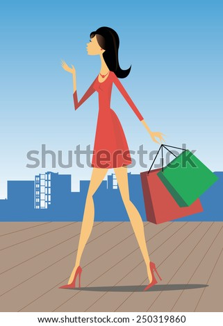 Girl store things the city shoes style - stock vector