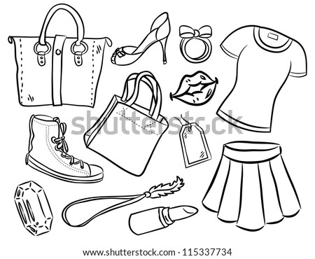 girl stuff cartoon - stock vector