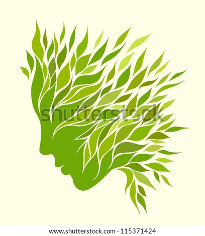 Girl stylized profile design with green leaves - stock vector