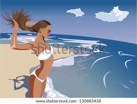 girl sunbathing on the beach - stock vector