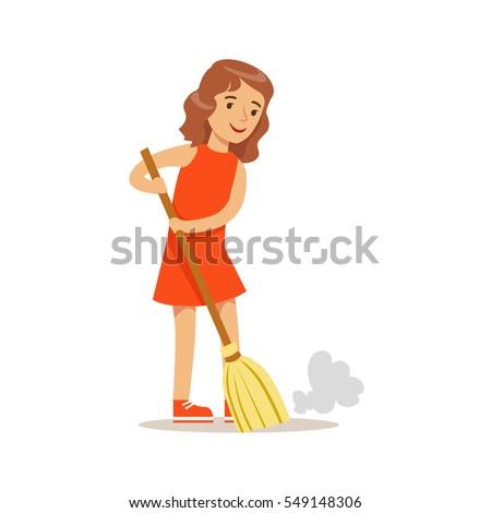 Girl Sweeping Floor Broom Smiling Cartoon Stock Vector