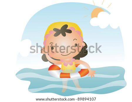 girl swimming - stock vector