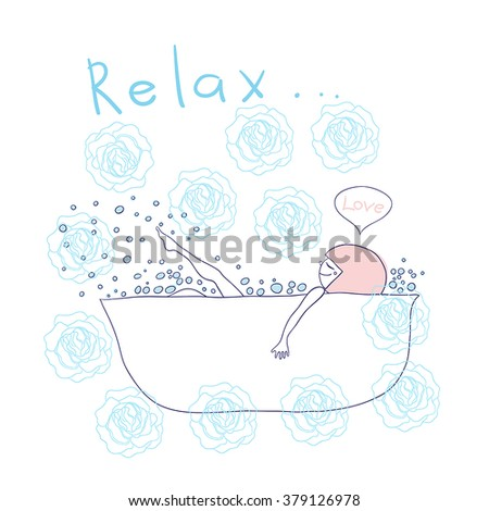 girl takes a bath with foam. vector illustration