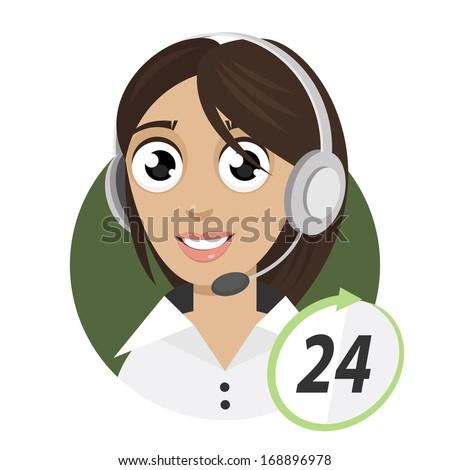 Girl telephone operator, call center 24 - stock vector