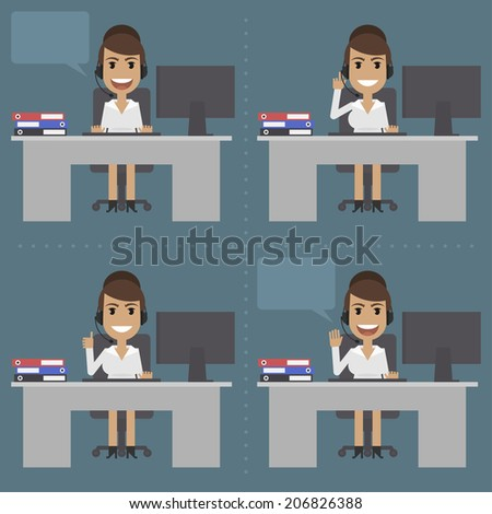 Girl telephone operator, call center, at table - stock vector