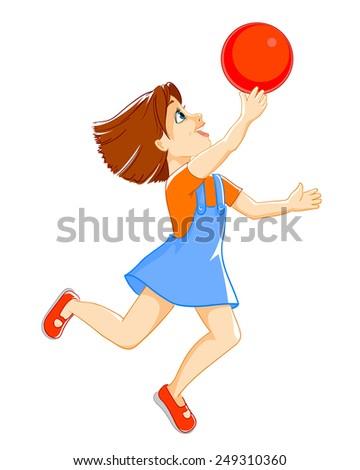 Girl throw up the ball - stock vector