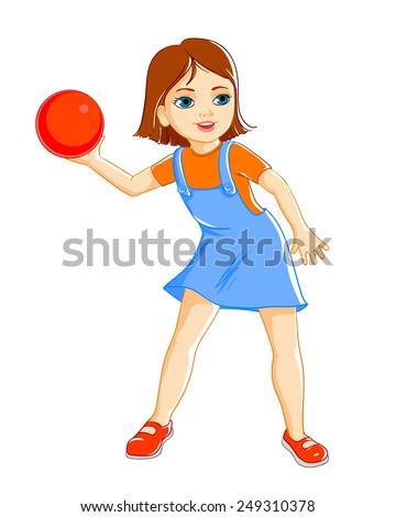 Girl throws the ball - stock vector