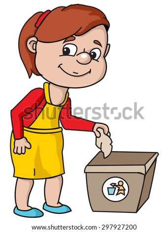 Girl throws trash - stock vector