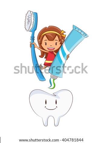Girl tooth brushing, vector illustration - stock vector