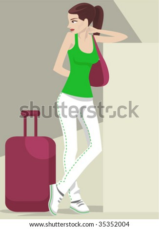 girl traveling - stock vector