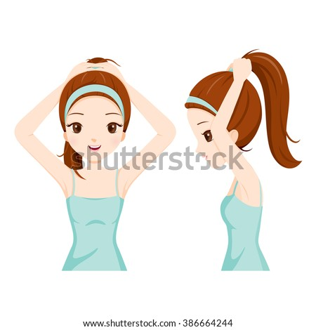 Girl Tying Her Hair, Front And Side View, Coiffure, Hairdressing, Beauty, Hairdo, Lifestyle, Fashion - stock vector
