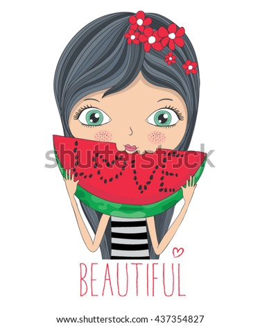 girl vector / T-shirt print / cartoon character design / typography design / love themed book illustration / watermelon lover