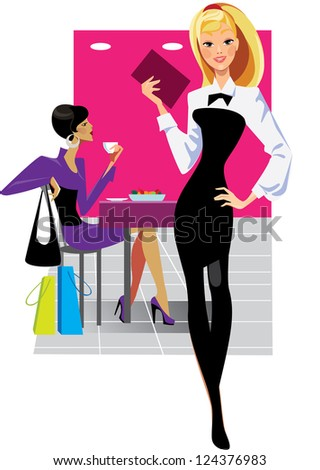 girl waiter and woman in cafe