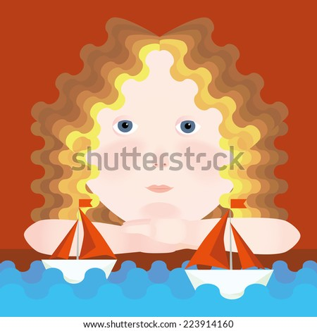 Girl waiting boat with scarlet sails. Vector - stock vector