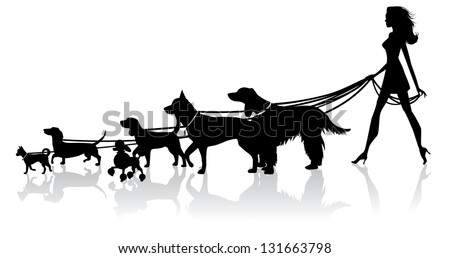 Girl Walking Dogs. EPS 8 vector, grouped for easy editing. No open shapes or paths. - stock vector