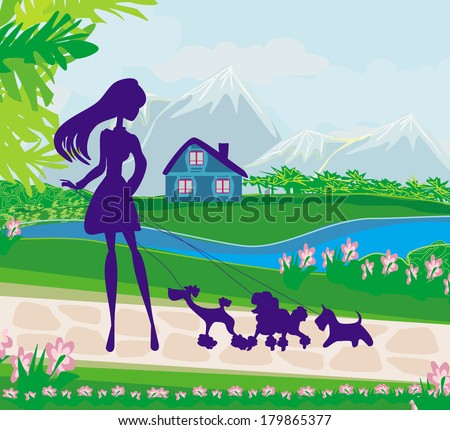 girl walking the dogs