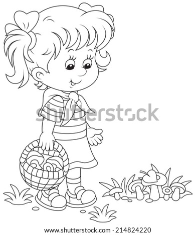 Girl walking with a basket and picking mushrooms - stock vector