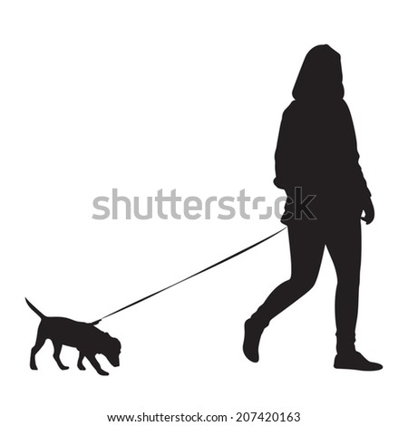 Girl walking with dog - Silhouette