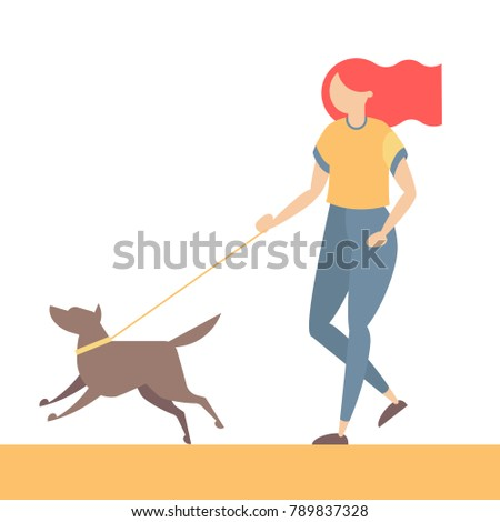 Girl walking with dog. Young woman character with pet. Vector illustration in simple and trendy flat style.