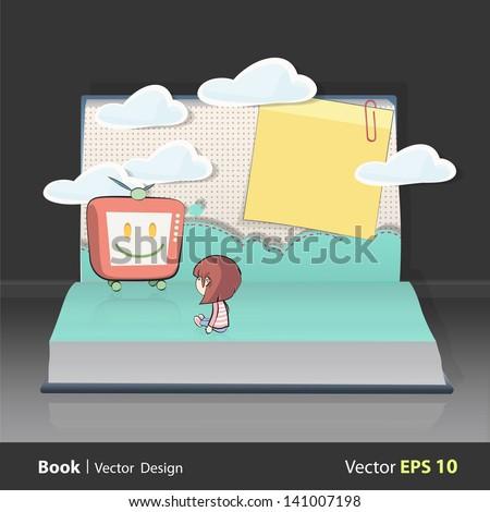 Girl watching TV on book. Vector design. - stock vector