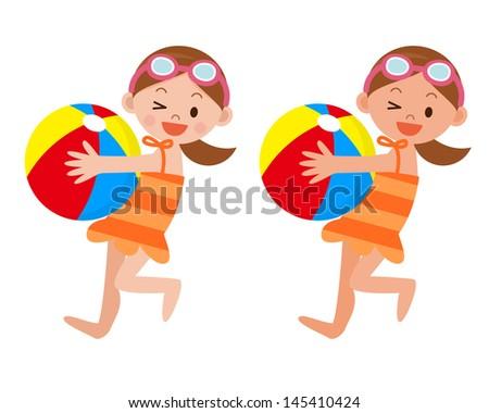 Girl with a beach ball - stock vector