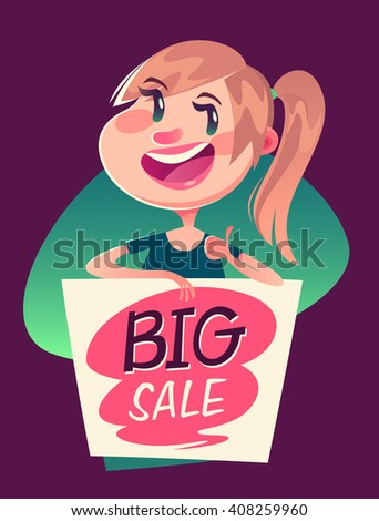 Girl with a big sale banner. Vector illustration. - stock vector