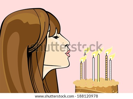 Girl with a birthday cake - stock vector