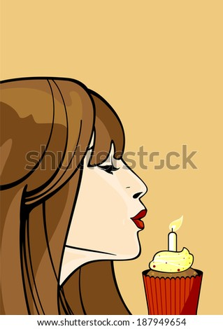 Girl with a birthday cupcake - stock vector