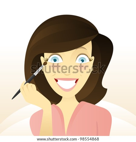 Girl with a brush - stock vector