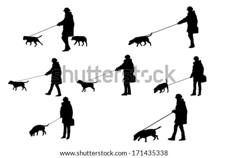 girl with a dog silhouettes  - stock vector