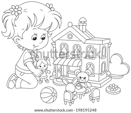 Girl with a doll and toy house - stock vector