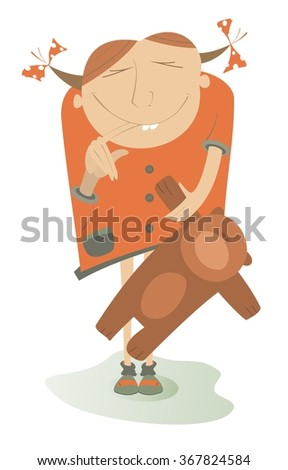Girl with a finger in the mouth holds a cute Teddy bear - stock vector