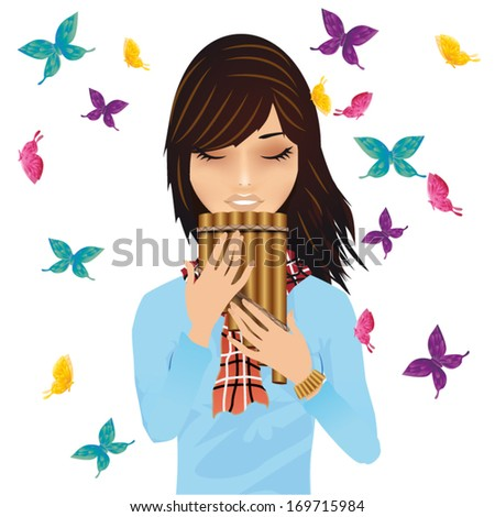 Girl with a pan's flute surrounded by butterflies vector - stock vector