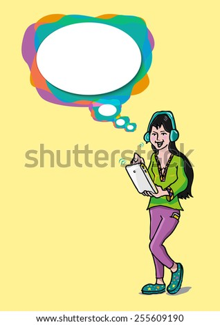 Girl with a Speech bubble uses a Tablet and Wireless headphone either to Listen to Music, Play Games, Watch Online video clips, video call or more. Vector illustration EPS10.