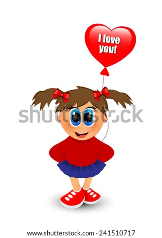 Girl with balloon on a white background