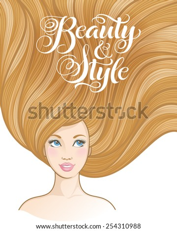"""Girl with beautiful hair. Vector illustration for barber shops, beauty salons, spa salons. Hairstyle banners with young women and calligraphic inscription """"Beauty and Style"""" - stock vector"""