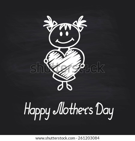 girl with big heart (cartoon doodle). Happy mothers day card - stock vector