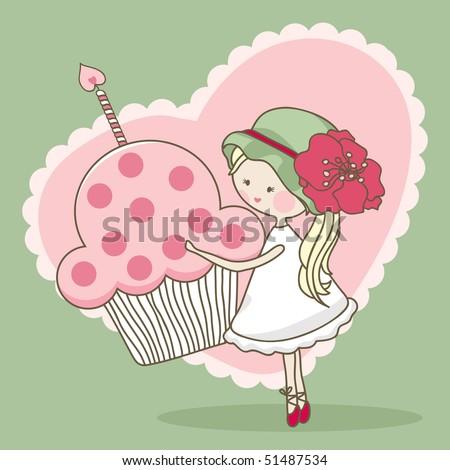 girl with birthday cake - stock vector