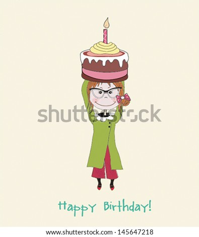 girl with birthday cupcake - stock vector