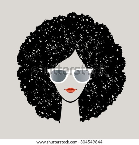 Girl with black afro and sunglasses - stock vector