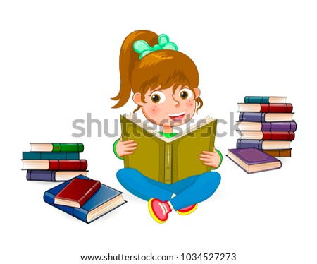 Girl with book in hands on a white background. Girl reading a book. The girl is sitting next to the books.