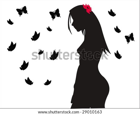 girl with butterflies silhouette - stock vector