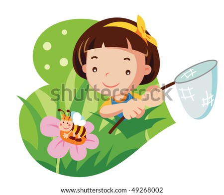 girl with butterfly net. vector illustration - stock vector