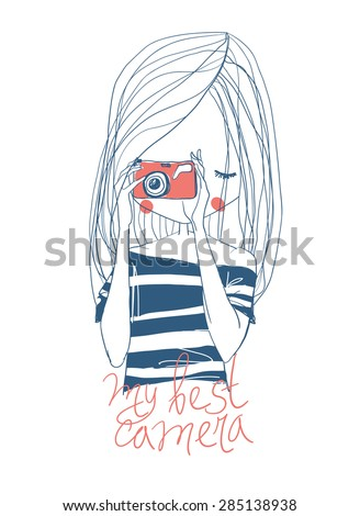 Girl with camera and lettering - stock vector