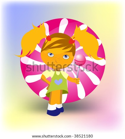 Girl with candy lolly-pop - stock vector