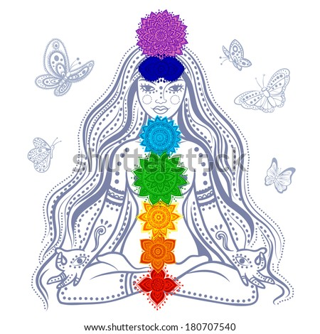 Girl with 7 chakras - stock vector