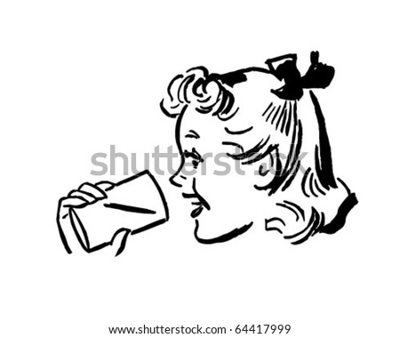 Girl With Cup - Retro Clipart Illustration - stock vector