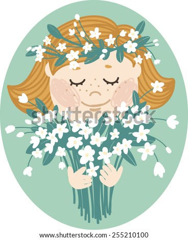 Girl with eyes closed with a bouquet of spring flowers and a wreath on his head. Cartoon character with freckles and short hair, illustration for your design cards, website, leaflets and so on. - stock vector