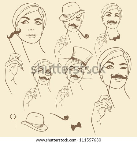 Girl with fake mustache, hand drawn moustache set, sketch